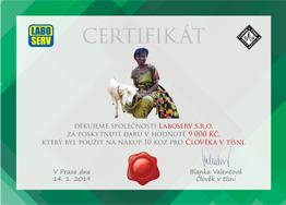 Člověk v tísni - certifikát